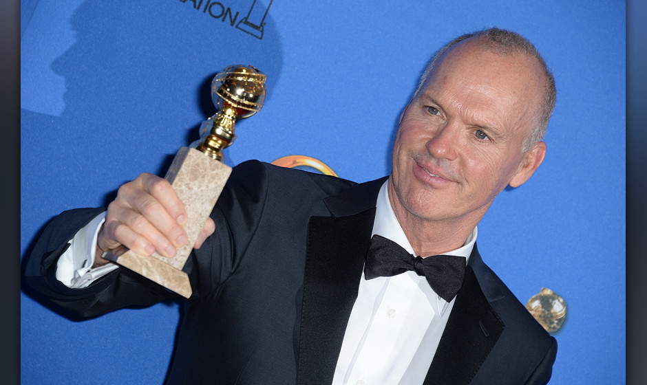 Michael Keaton posing in the press room at the 72nd annual Golden Globe Awards held at the Beverly Hilton in Beverly Hills, L