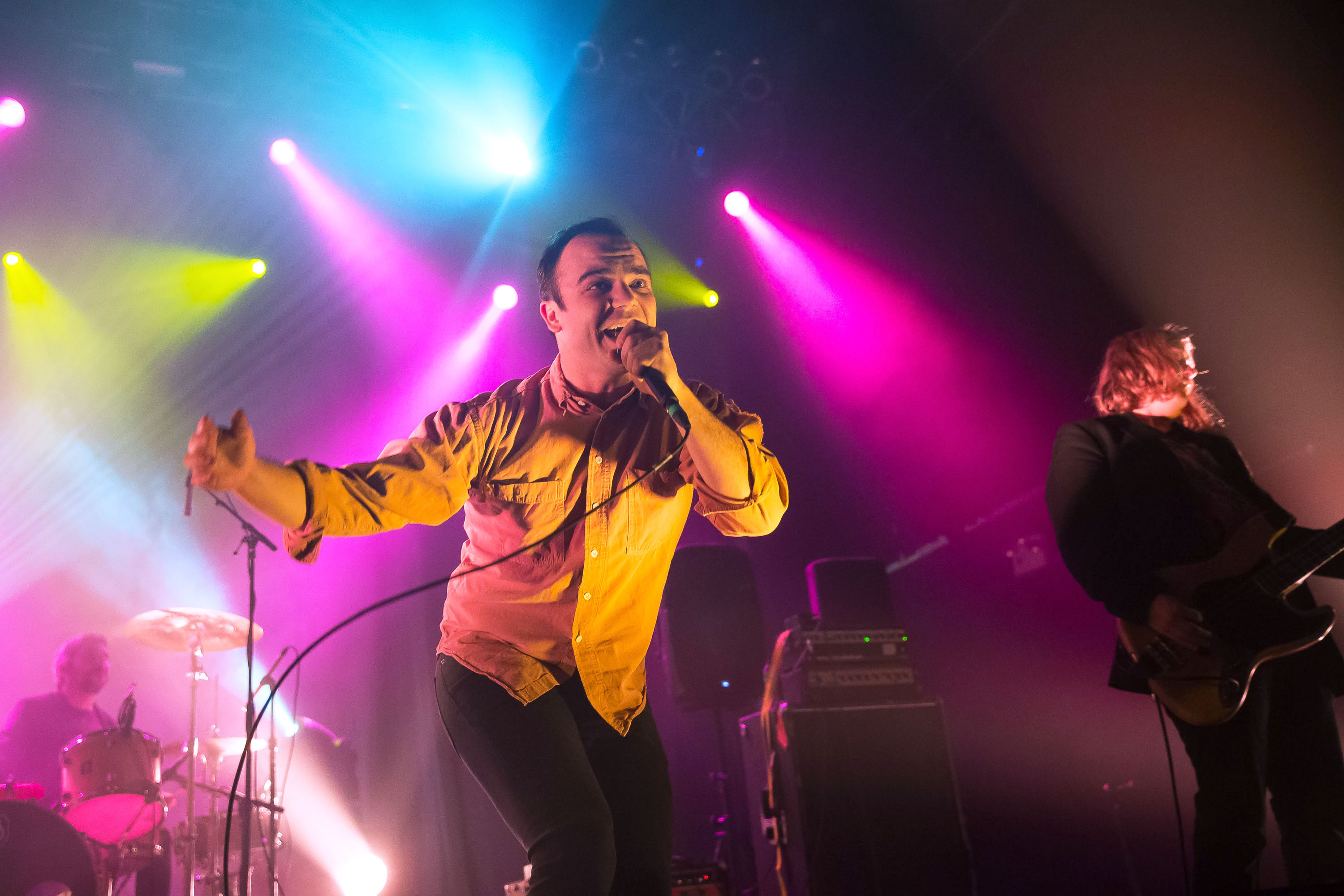 NEW YORK, NY - JANUARY 09:  Singer Samuel T. Herring of Future Islands performs at Terminal 5 on January 9, 2015 in New York