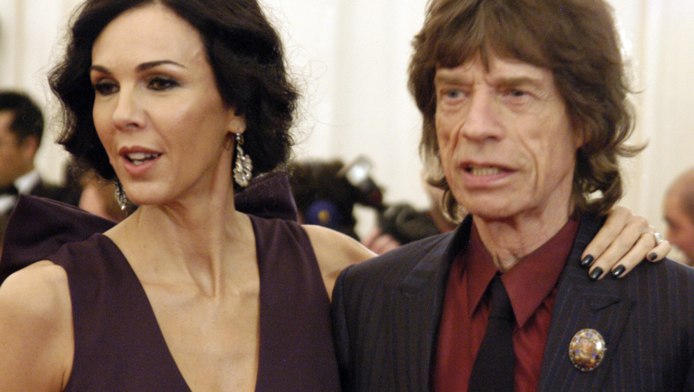 NEW YORK CITY - MAY 7:  L'Wren Scott and Mick Jagger attend 'Schiaparelli And Prada: Impossible Conversations' Costume Instit