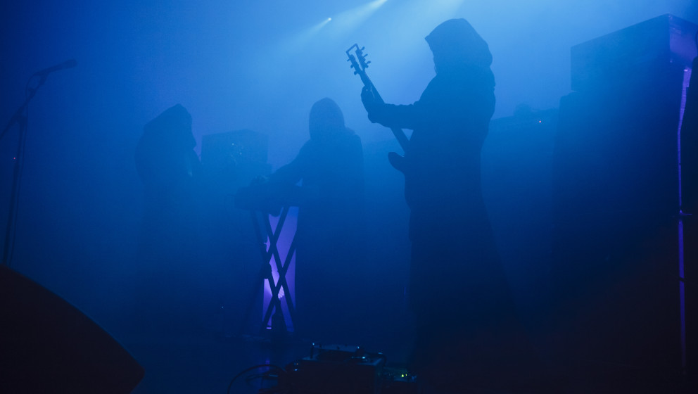 MANCHESTER, UNITED KINGDOM - JUNE 11: Stephen O'Malley, TOS and Greg Anderson of Sunn O))) performs on stage at HMV Ritz on J