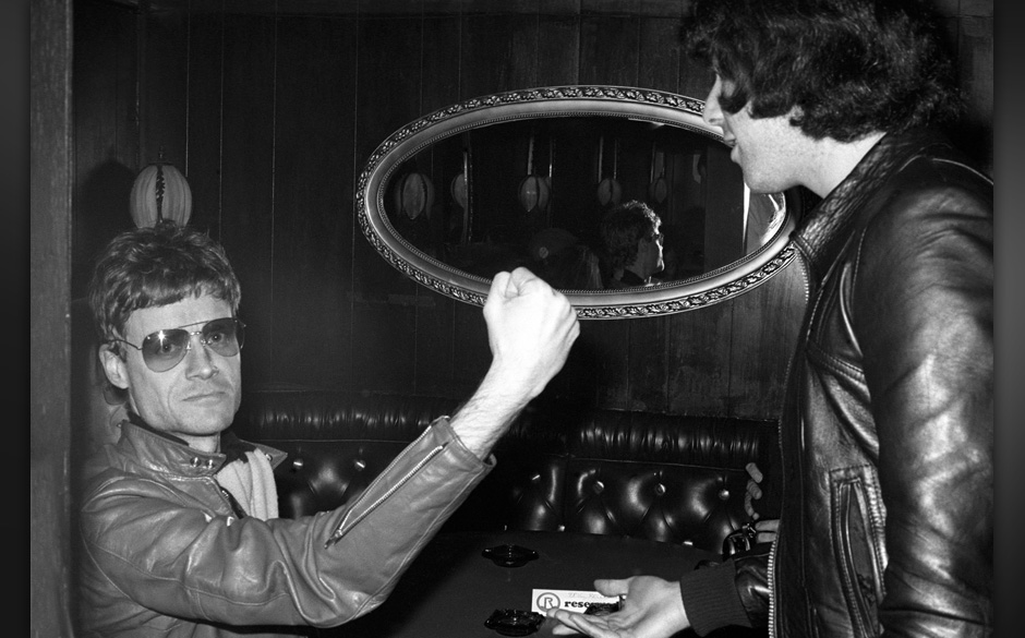 (EXCLUSIVE, Premium Rates Apply) LOS ANGELES- 1977- 1978 Kim Fowley, the producer of The Runaways with Harold Bronson at The