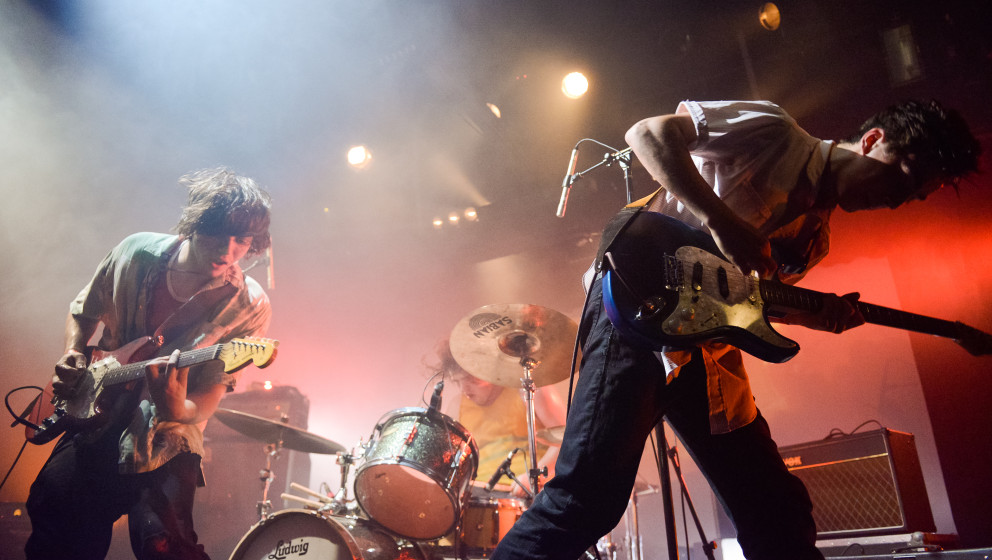 LOS ANGELES, CA - AUGUST 06:  (L-R)Cadien Lake James, Connor Brodner and  Clay Frankel of Twin Peaks perform at Echoplex on A