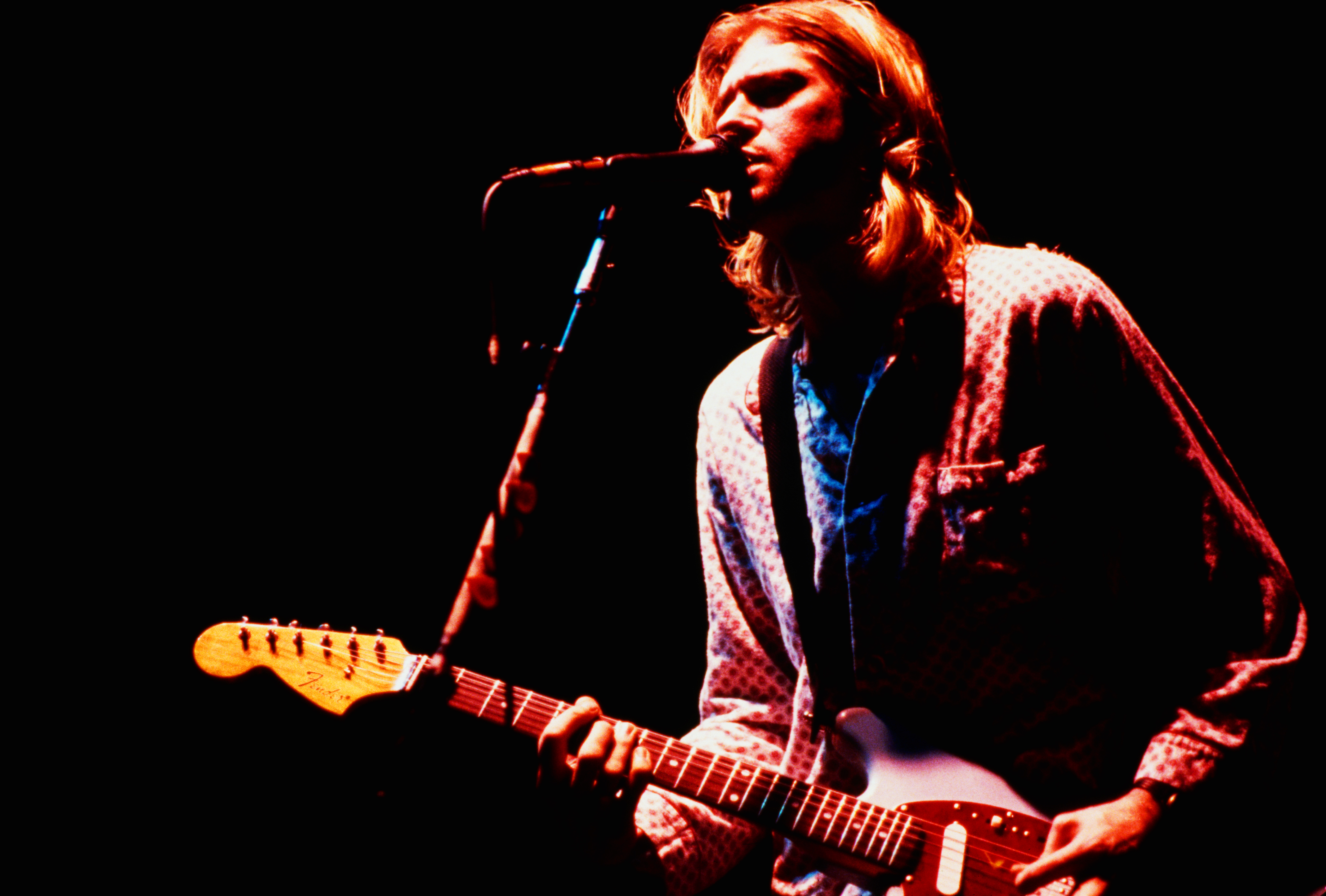 Singer-songwriter and guitarist Kurt Cobain (1967 - 1994) performing with American grunge band Nirvana at the Roseland Ballro