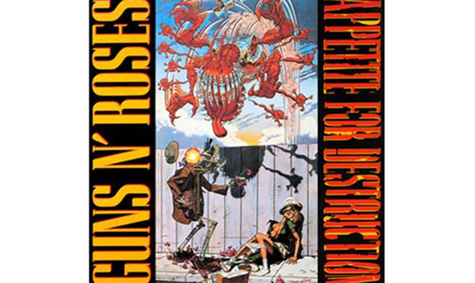 Guns N' Roses, 'Appetite for Destruction' (1987).  Der Titel stammt von einem Gemälde von Robert Williams': Ein Roboter verg