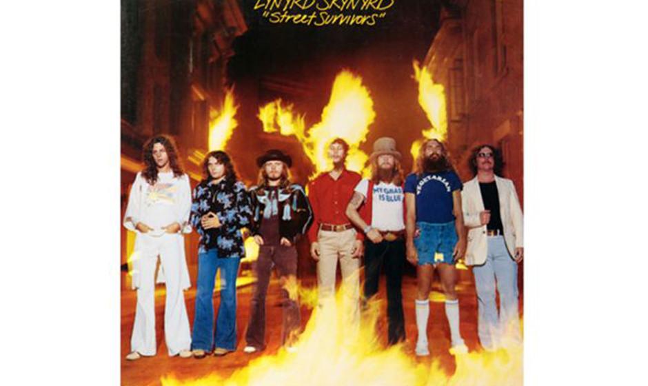 Lynyrd Skynyrd, 'Street Survivors' (1977).  Drei Tage nach LP-Veröffentlichung starben drei Bandmitglieder, darunter Gründe
