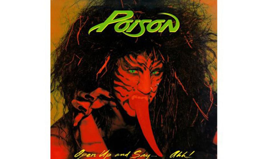 Poison, 'Open Up and Say...Ahh!' (1988).  Die Zunge allein macht das Cover eher albern, als dass es eine sexuelle oder gar sa