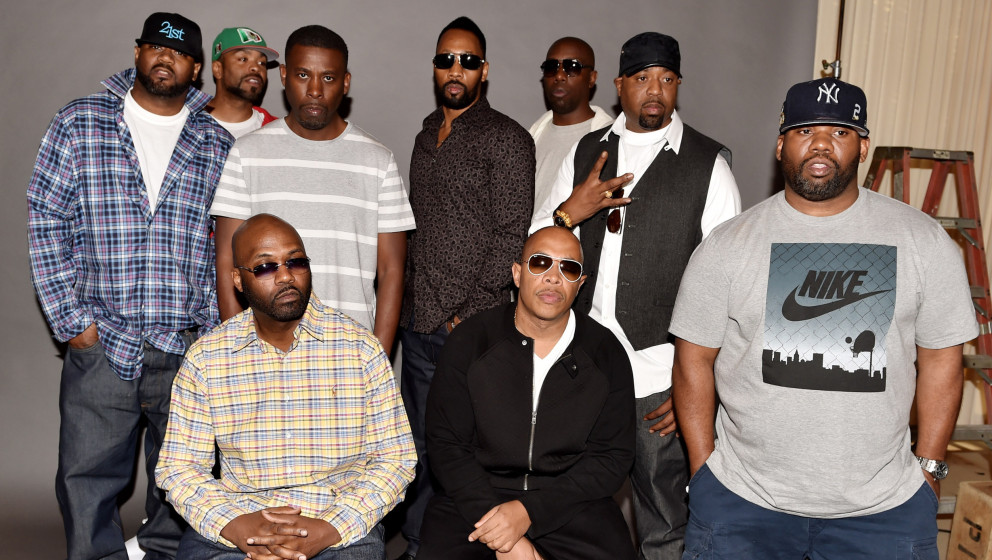 BURBANK, CA - OCTOBER 02:  (L-R, standing) Rappers Ghostface Killah, Method Man, GZA, RZA, Inspectah Deck, Cappadonna, Raekwo