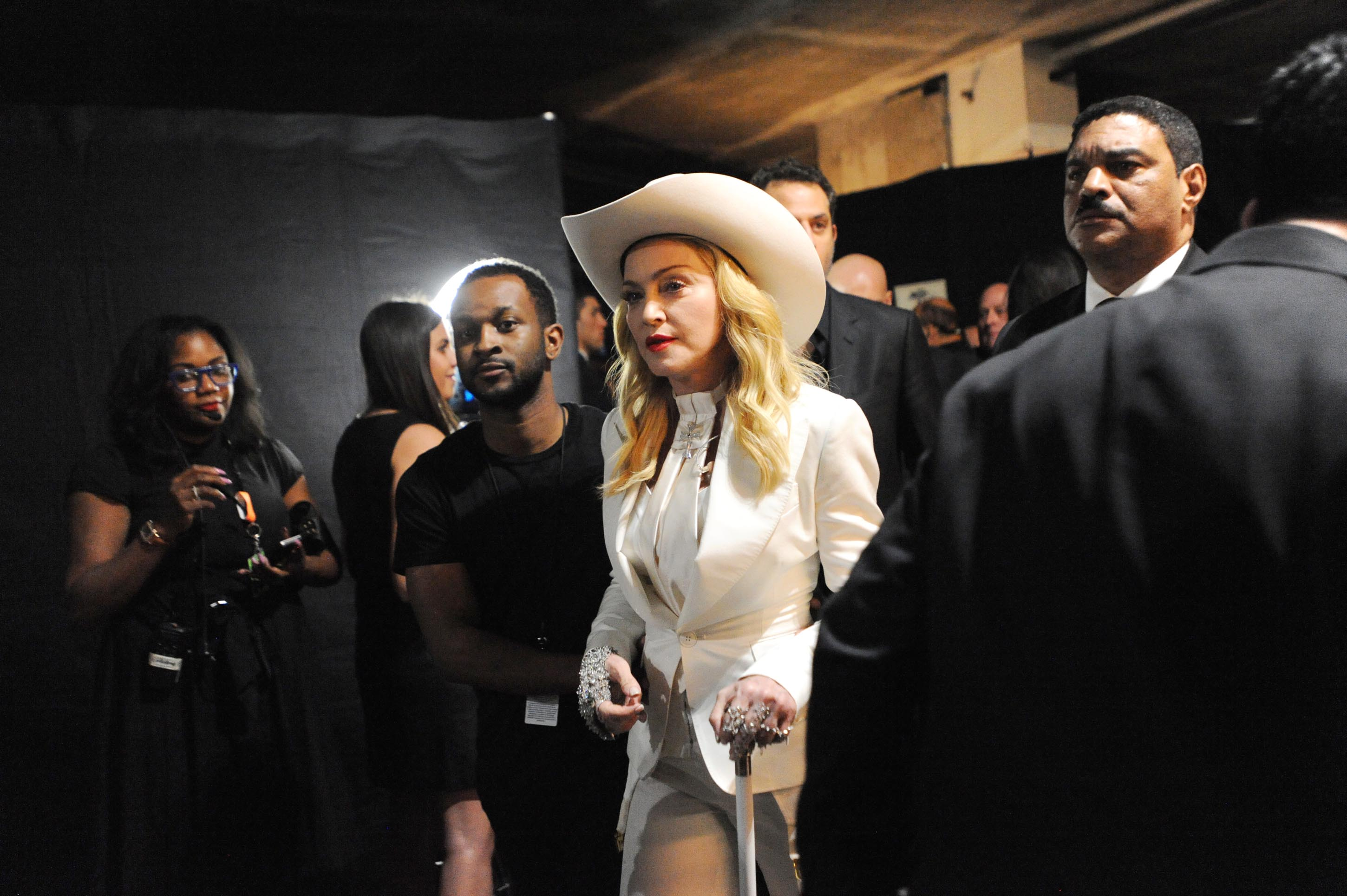 Image #: 26818660    Madonna backstage during the 56th Annual Grammy Awards in Los Angeles on January 26, 2014.     CBS/Heath