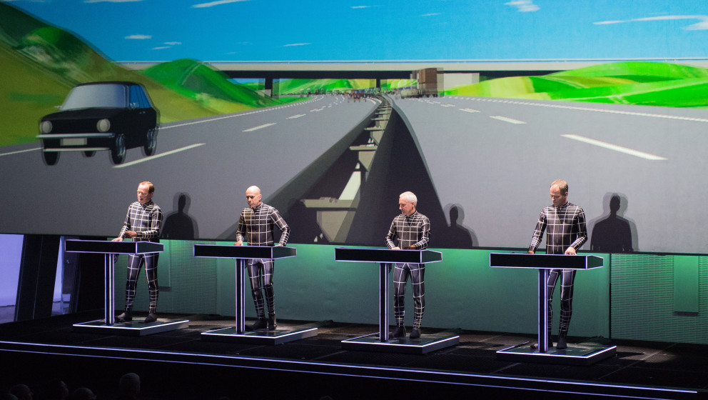 PARIS, FRANCE - NOVEMBER 06: Ralf Hutter, Fritz Hilpert, Henning Schmitz and Falk Grieffenhagen from Kraftwerk perform at Fon