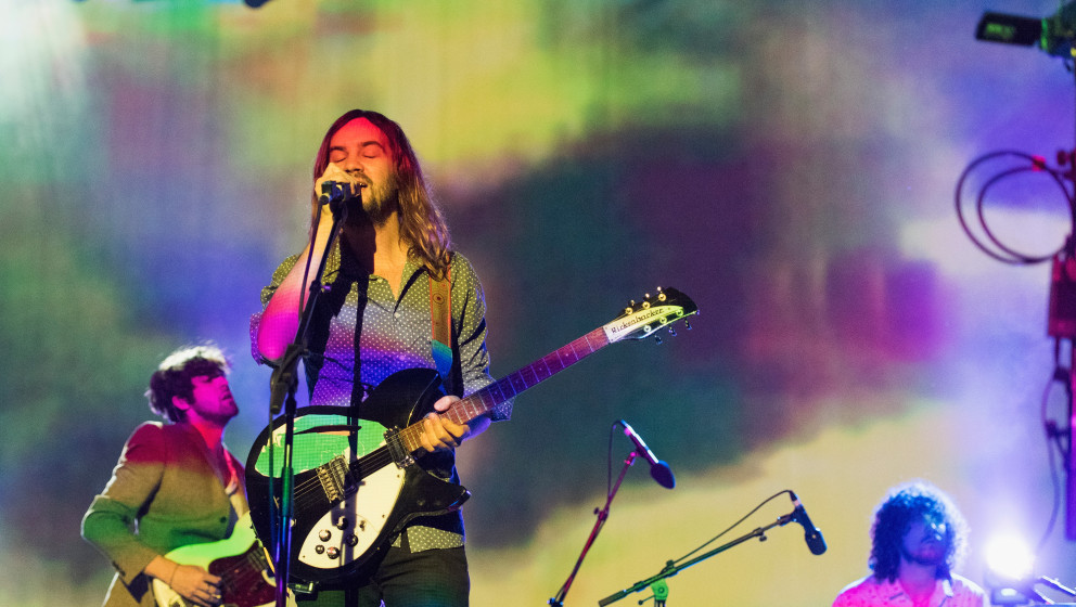 LOS ANGELES, CA - NOVEMBER 12:  Kevin Parker of Tame Impala performs on stage at The Shrine Auditorium on November 12, 2014 i