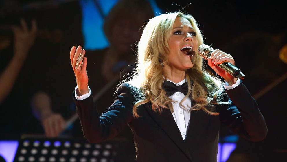 seen on stage at the last broadcast of the Wetten, dass..?? tv show on December 13, 2014 in Nuremberg, Germany.