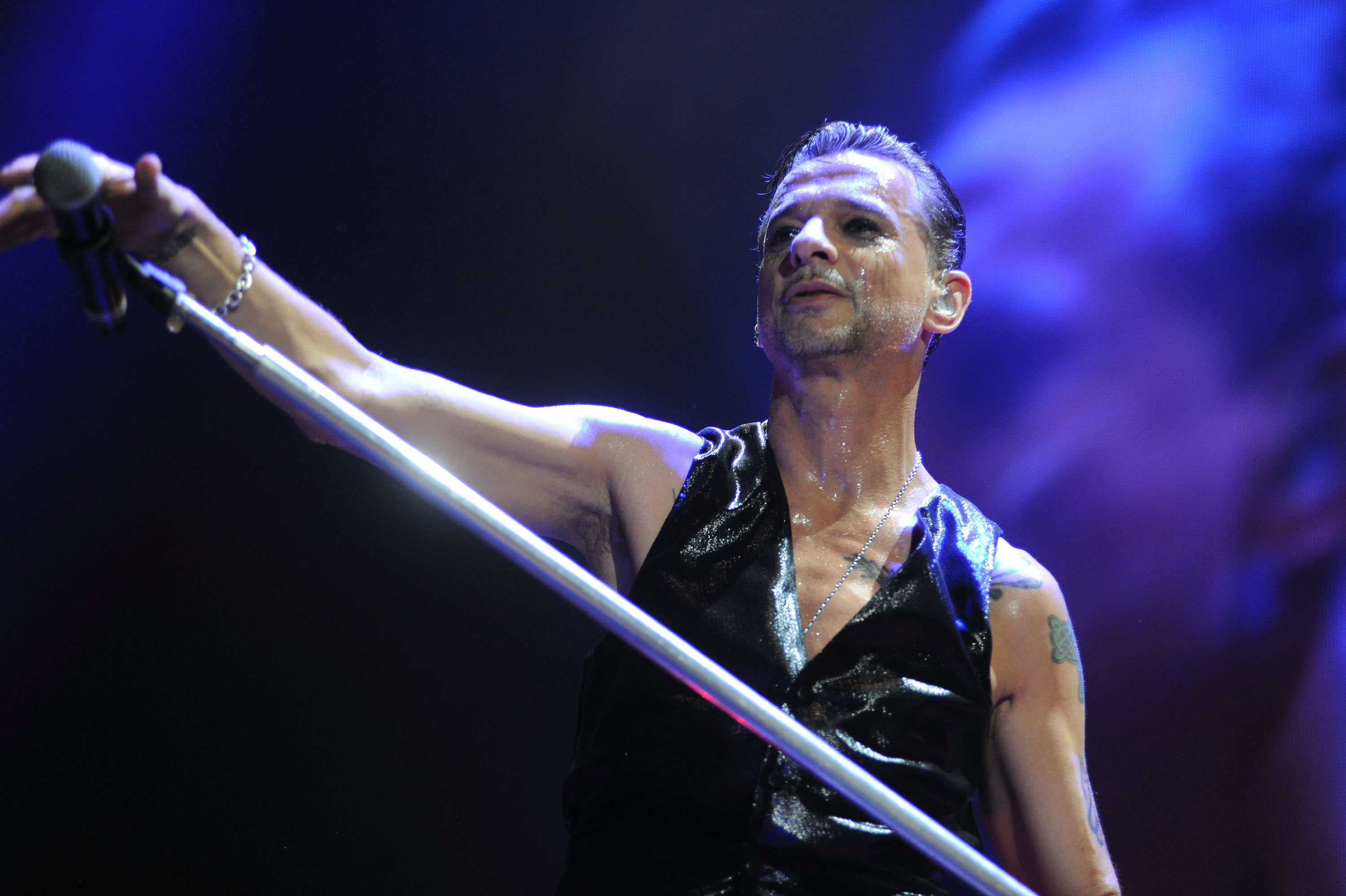 BOLOGNA, ITALY - FEBRUARY 22:  Dave Gahan lead the Depeche Mode in concert at Unipol Arena on February 22, 2014 in Bologna, I
