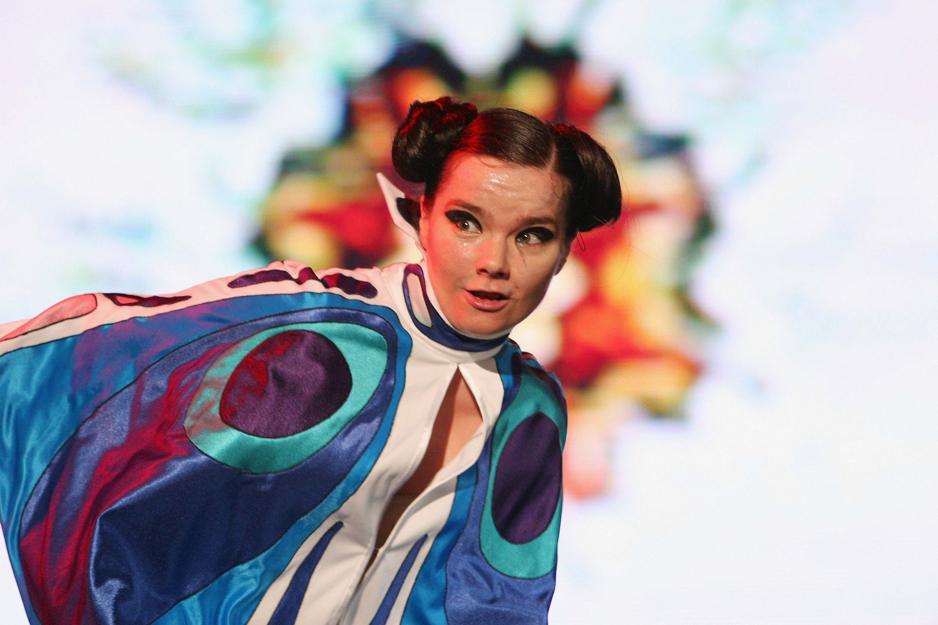 CHIBA, JAPAN - JULY 2:  Iceland's rock singer Bjork  performs on stage at 'Live 8 Japan' at Makuhari Messe on July 2, 2005 in