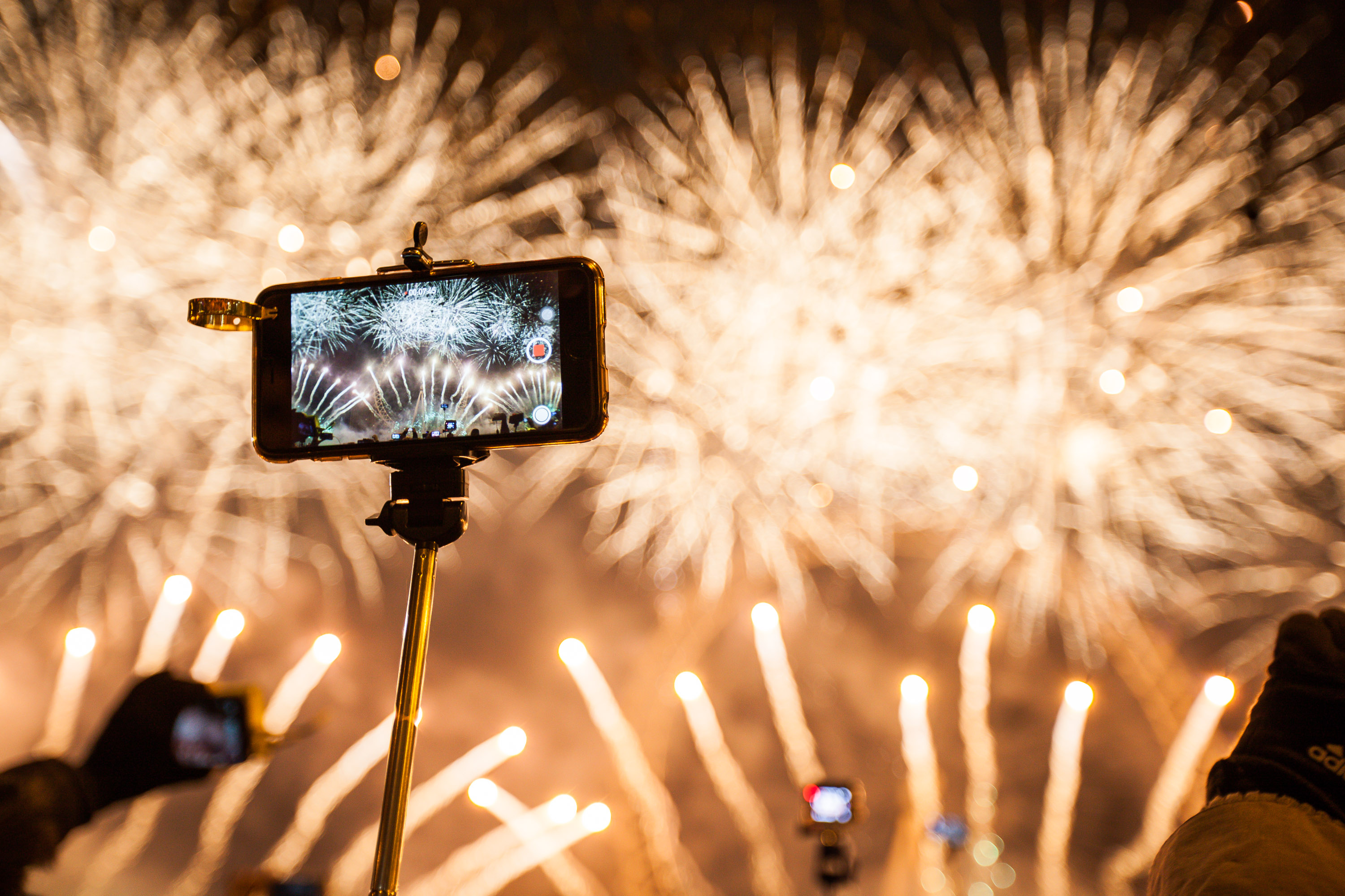Jan. 1, 2015 - London, London, UK - London, UK. The new years fireworks display is caught on a member of the crowds phone