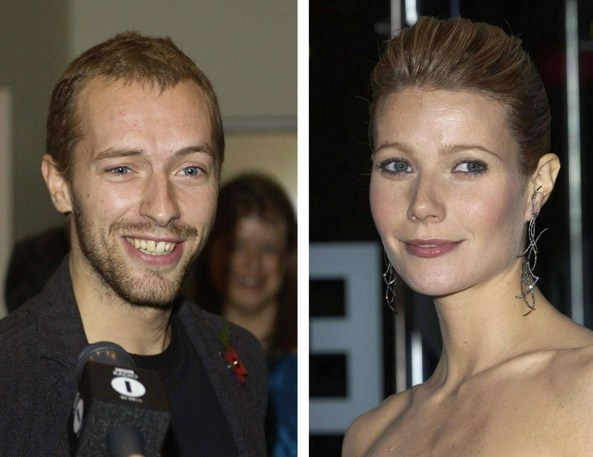 Hollywood star Gwyneth Paltrow and rocker Chris Martin, shown in these filers from 6 November 2003, are expecting their first