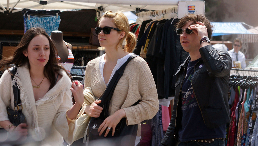 WEST HOLLYWOOD, CA - MARCH 29: Mandy Moore (C) and Ryan Adams (R) sighting at the flea market on March 29, 2009 in West Holly