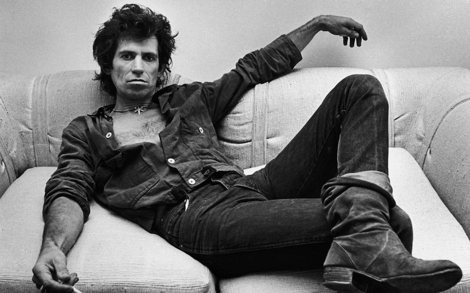 NEW YORK, NY - 1980:  Guitarist Keith Richards of the Rolling Stones, lounges in his New York City, New York, office during a