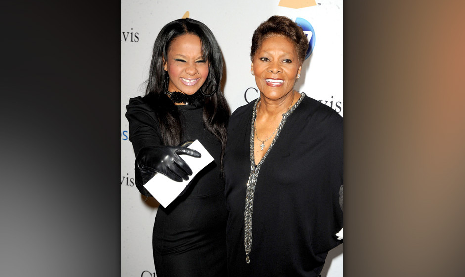 BEVERLY HILLS, CA - FEBRUARY 12:  Bobbi Kristina (L) and singer Dionne Warwick arrive at the 2011 Pre-GRAMMY Gala and Salute