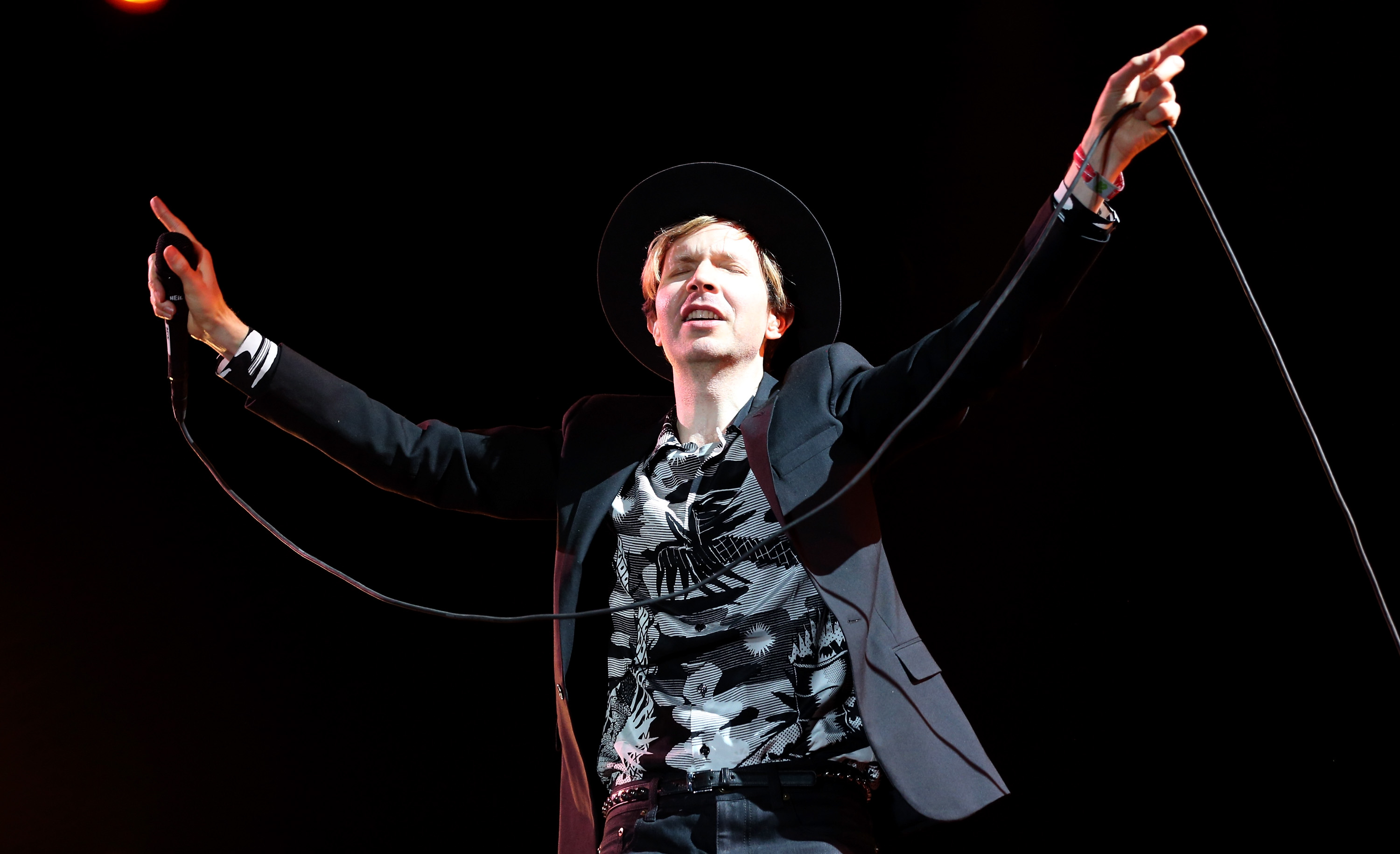 INDIO, CA - APRIL 20:  Musician Beck performs onstage during day 3 of the 2014 Coachella Valley Music & Arts Festival at
