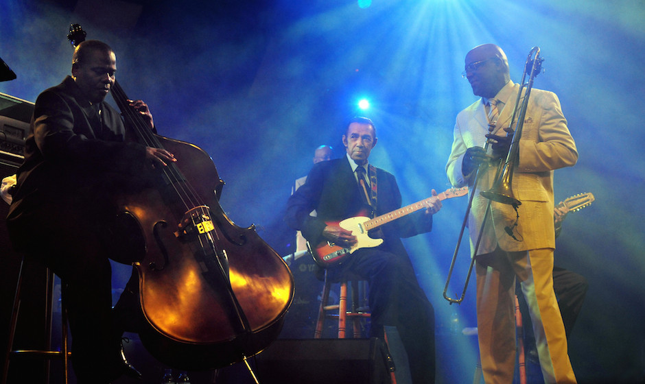 Musicians of the Cuban band Buena Vista Social Club perform on stage on July 26, 2009 during the Cornouaille festival in Quim