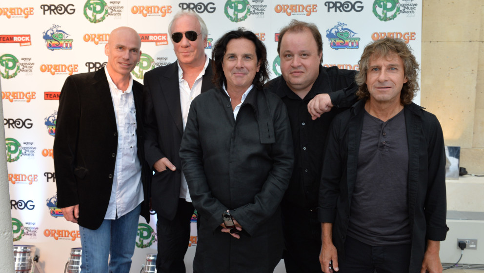 LONDON, UNITED KINGDOM - SEPTEMBER 3: Portrait of musicians Mark Kelly, Ian Mosley, Steve Hogarth, Steve Rothery and Pete Tre