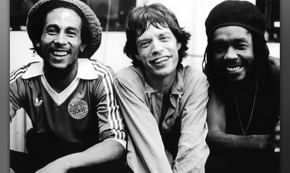 Bob Marley, Mick Jagger and Peter Tosh pose backstage at a Rolling Stones concert at the Palladium in New York, United States