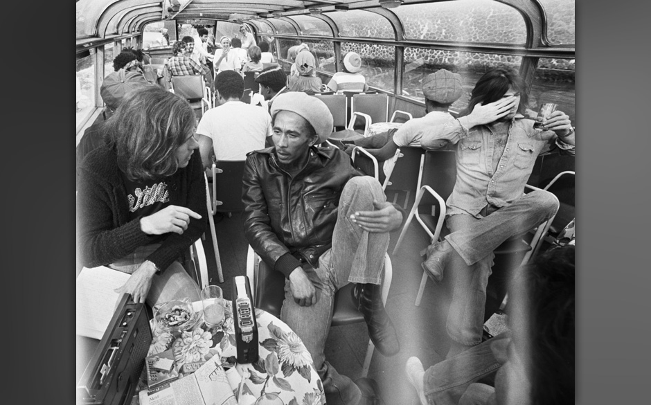 AMSTERDAM, NETHERLANDS - 1st JANUARY: Jamaican reggae musician Bob Marley (1945-1981) posed on a river boat with The Wailers