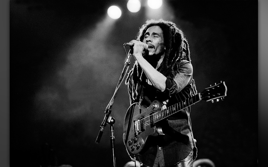Musician Bob Marley performs onstage at the Auditorium Theater, Chicago, Illinois, May 27, 1978. (Photo by Paul Natkin/Getty