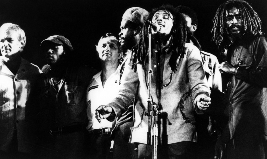 JAMAICA - APRIL 22:  Photo of WAILERS and Bob MARLEY; Picture taken during the One Love Peace Concert in Kingston, Jamaica. P