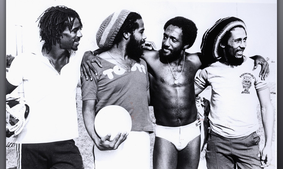 UNSPECIFIED - JANUARY 01:  (AUSTRALIA OUT) Photo of TOOTS & The MAYTALS and Bob MARLEY; Bob Marley playing football w/ To