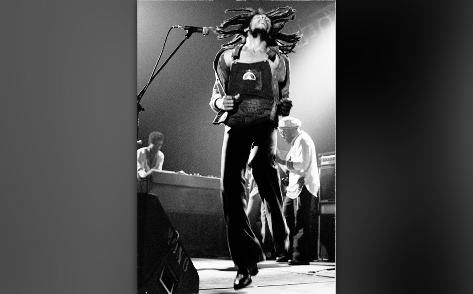 VOORBURG, NETHERLANDS: Bob Marley performs live on stage with the Wailers in Voorburg, Holland in 1976 (Photo by Gijsbert Han