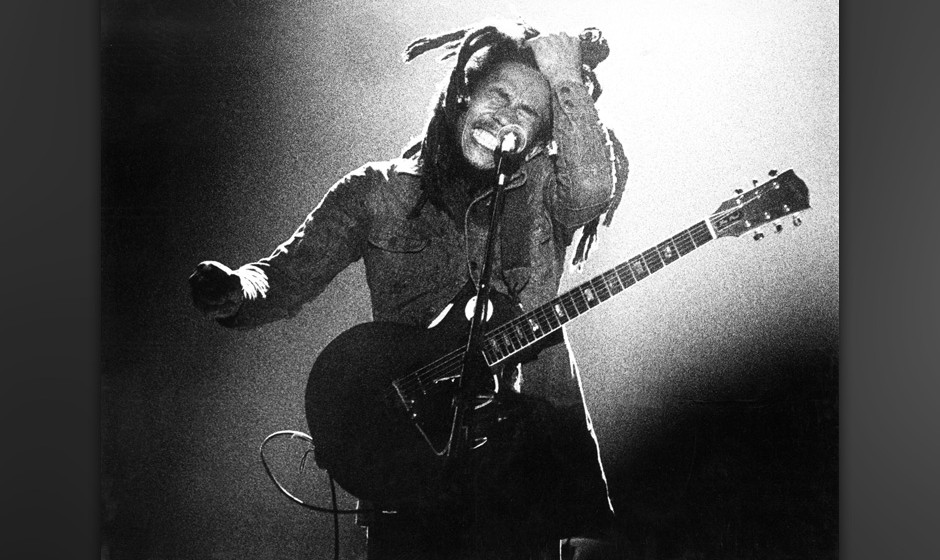 THE HAGUE, NETHERLANDS: Bob Marley performs live on stage with the Wailers in The Hague, Holland in 1976 (Photo by Gijsbert H