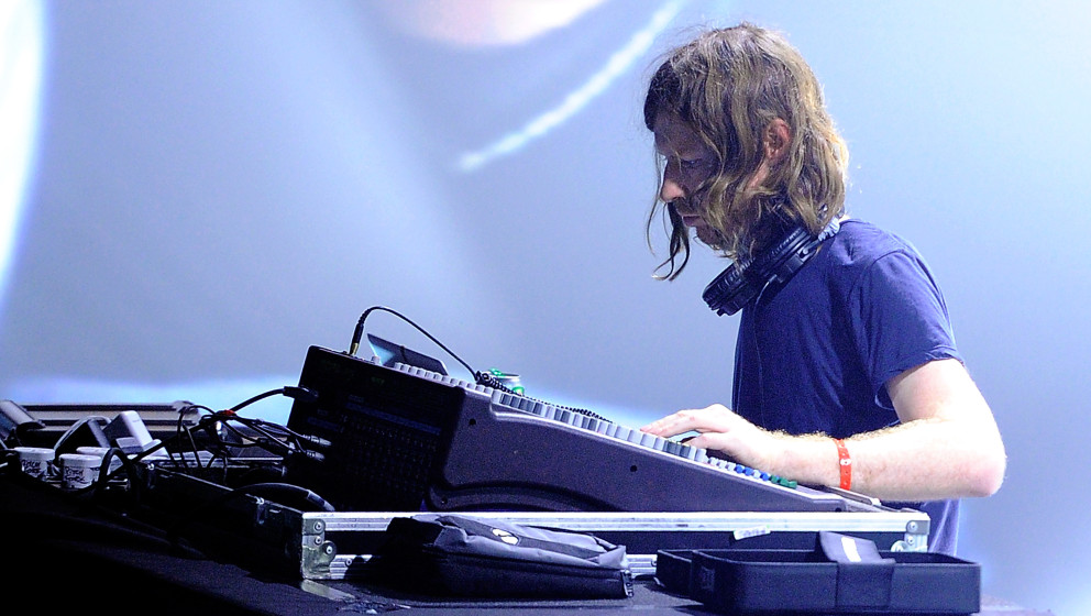 PARIS, FRANCE - OCTOBER 28:  Aphex Twin performs on stage during day one of the Pitchfork Music Festival at the Grande Halle