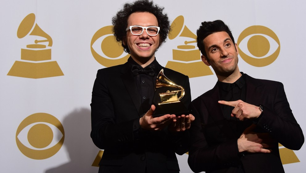 Ian Axel (L) and Chad Vaccarino (R) of A Great Big World  pose in  the press room after winning Best Pop Duo/Group performanc
