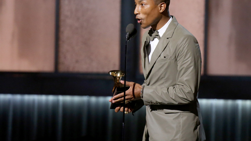 LOS ANGELES, CA - FEBRUARY 08:  Singer/songwriter Pharrell Williams accepts an award onstage during The 57th Annual GRAMMY Aw
