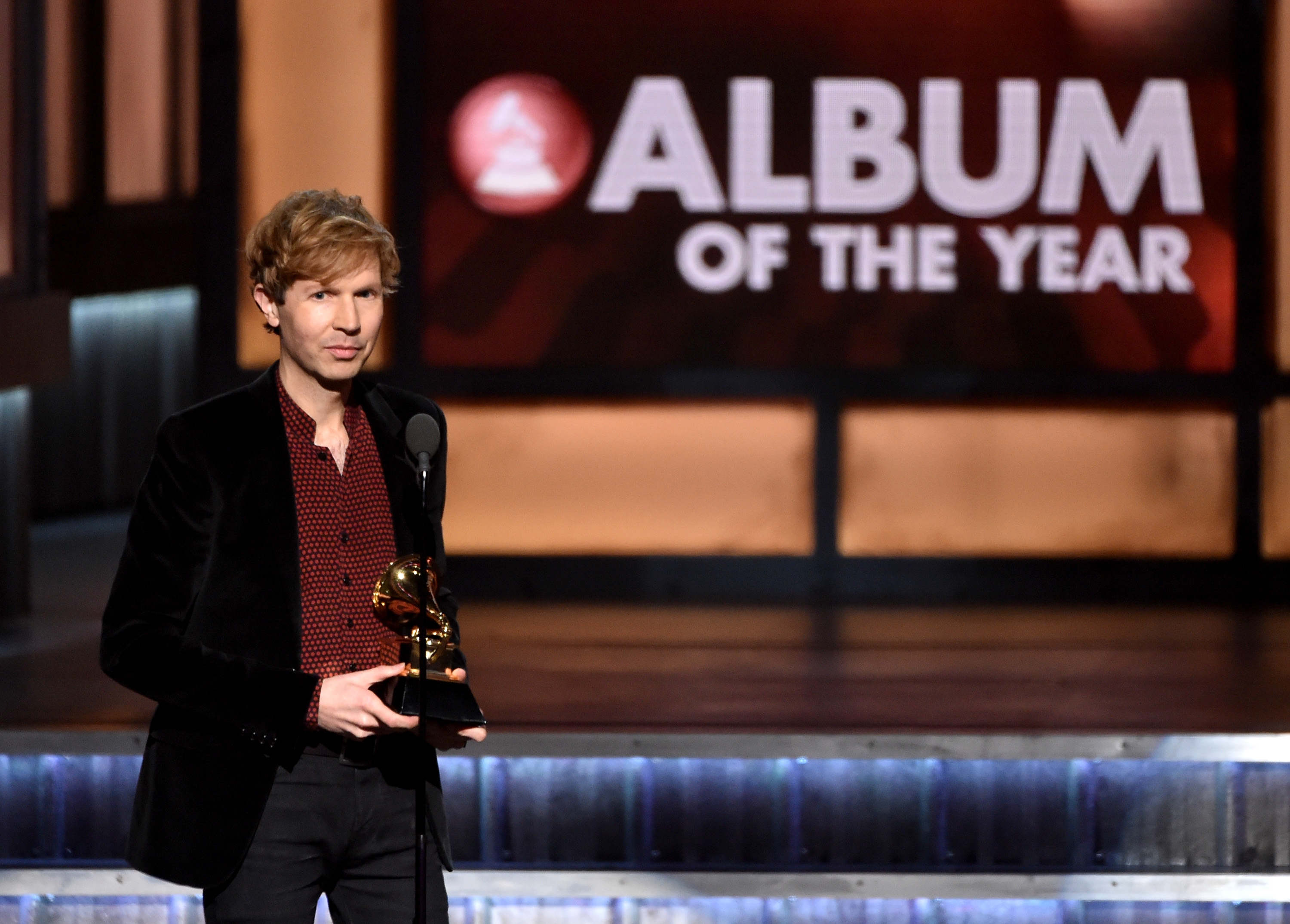 LOS ANGELES, CA - FEBRUARY 08:  Recording artist Beck speaks onstage during The 57th Annual GRAMMY Awards at the STAPLES Cent