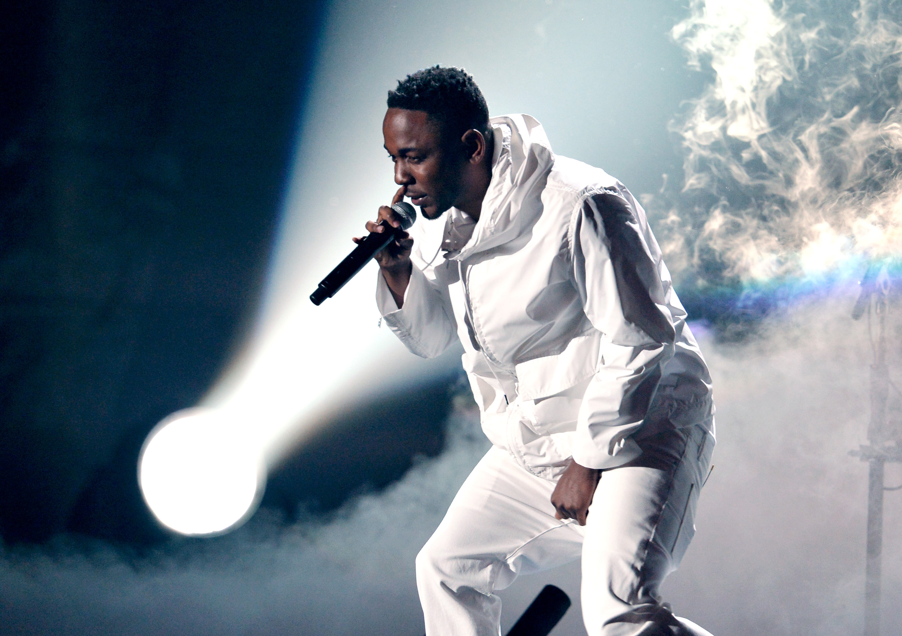 LOS ANGELES, CA - JANUARY 26:  Rapper Kendrick Lamar performs onstage during the 56th GRAMMY Awards at Staples Center on Janu