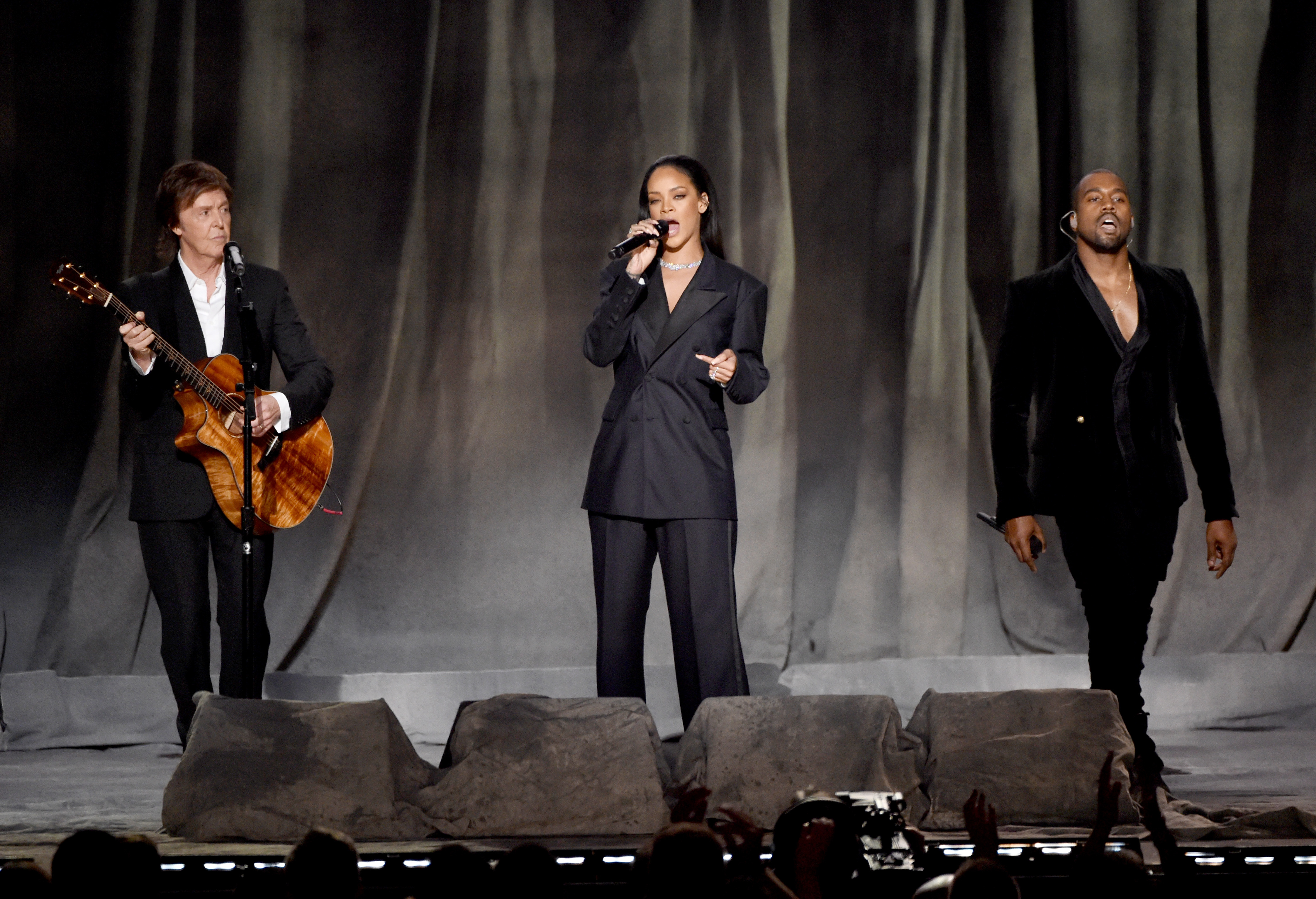 LOS ANGELES, CA - FEBRUARY 08:  (L-R) Musician Paul McCartney, singer Rihanna, and rapper Kanye West perform onstage during T
