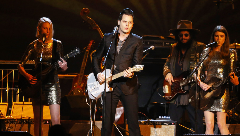 LOS ANGELES, CA - FEBRUARY 06:  Jack White performs onstage during the 2015 MusiCares Person of The Year honoring Bob Dylan h
