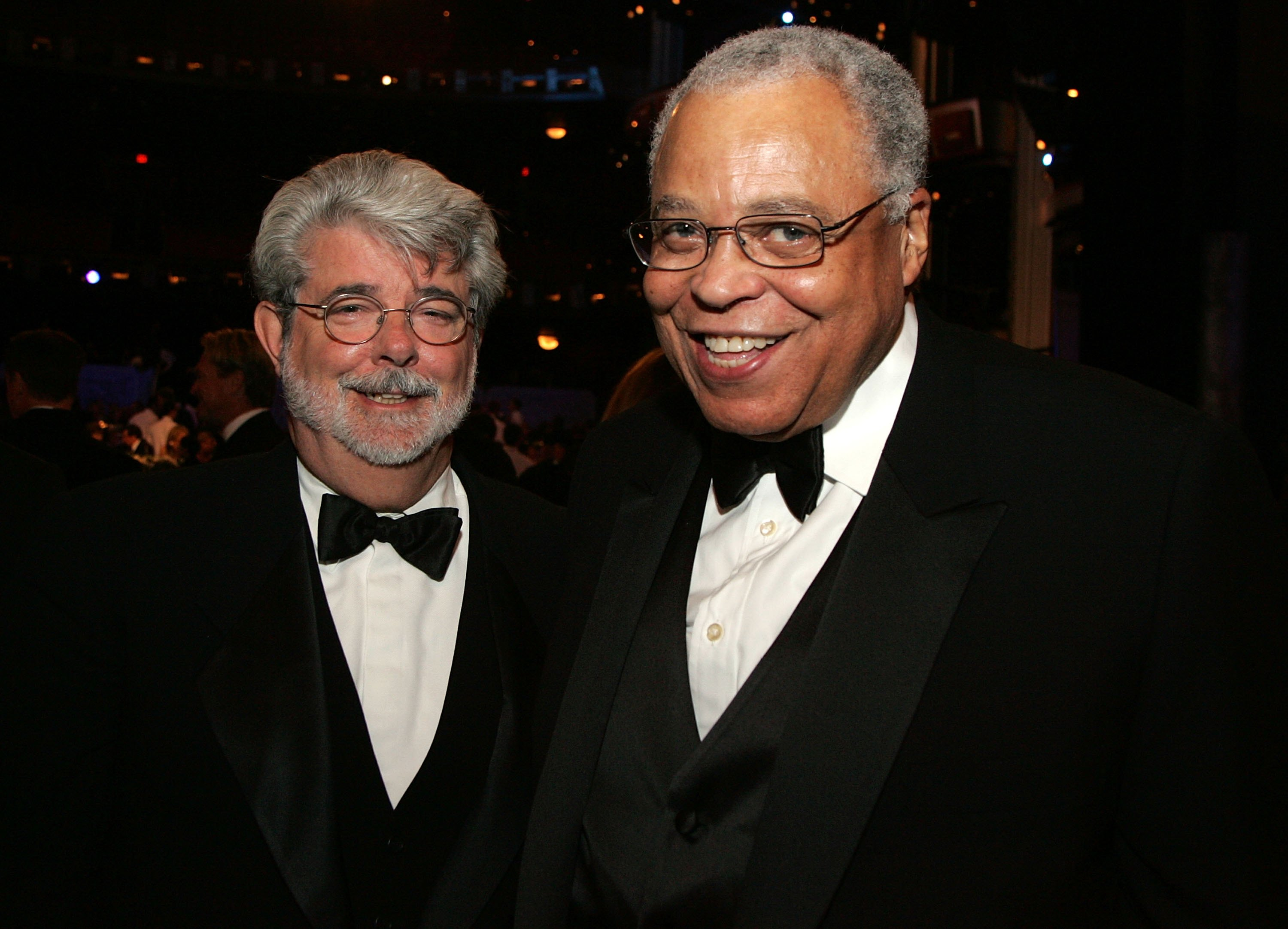 HOLLYWOOD, CA - JUNE 08: Director George Lucas and actor James Earl Jones pose during the 34th AFI Life Achievement Award tri