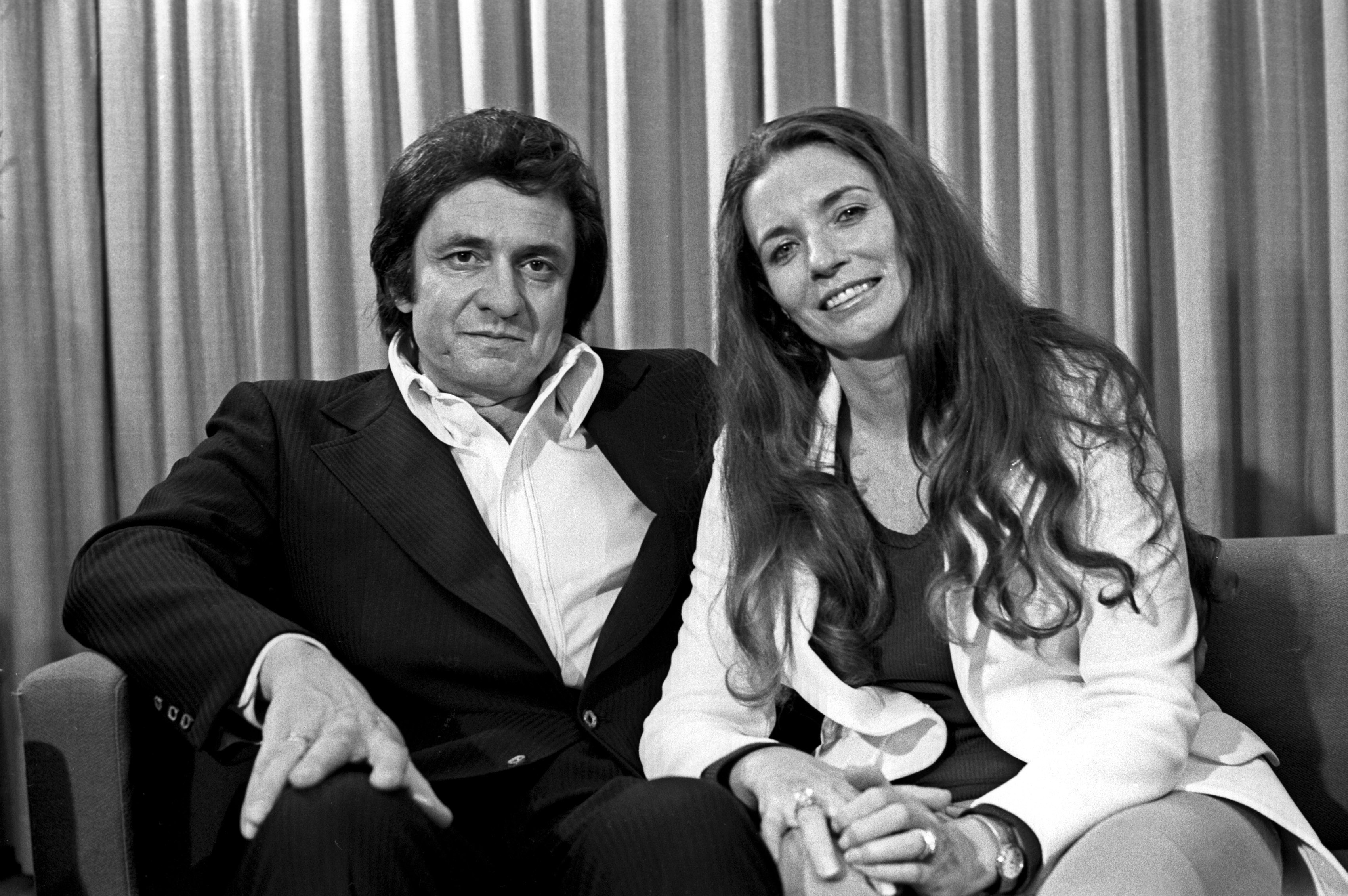 Johnny Cash and his wife June Carter arrived in Australia with their son John carter Cash on 19 March 1973. (Photo by Kevin B