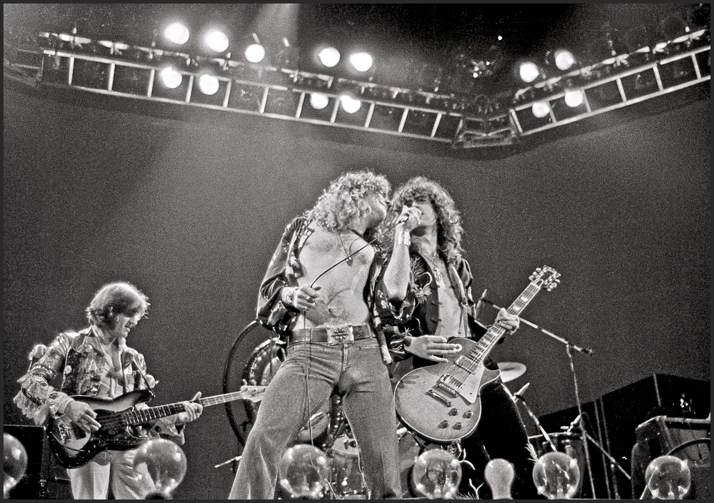 LONDON - 24th MAY: John Paul Jones, Robert Plant and Jimmy Page from rock group Led Zeppelin perform live on stage at Earls C