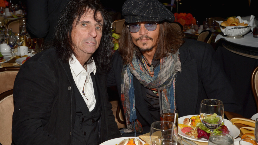 LOS ANGELES, CA - FEBRUARY 09:  Singer Alice Cooper (L) and actor Johnny Depp attend the 55th Annual GRAMMY Awards Pre-GRAMMY