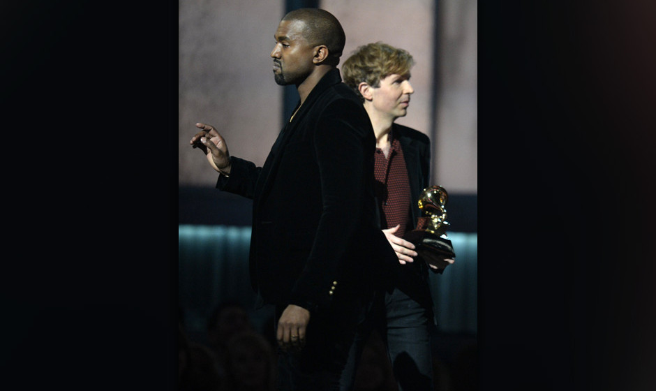 Winner for Album Of The Year Beck reacts as Kanye West appears on stage at the 57th Annual Grammy Awards in Los Angeles Febru