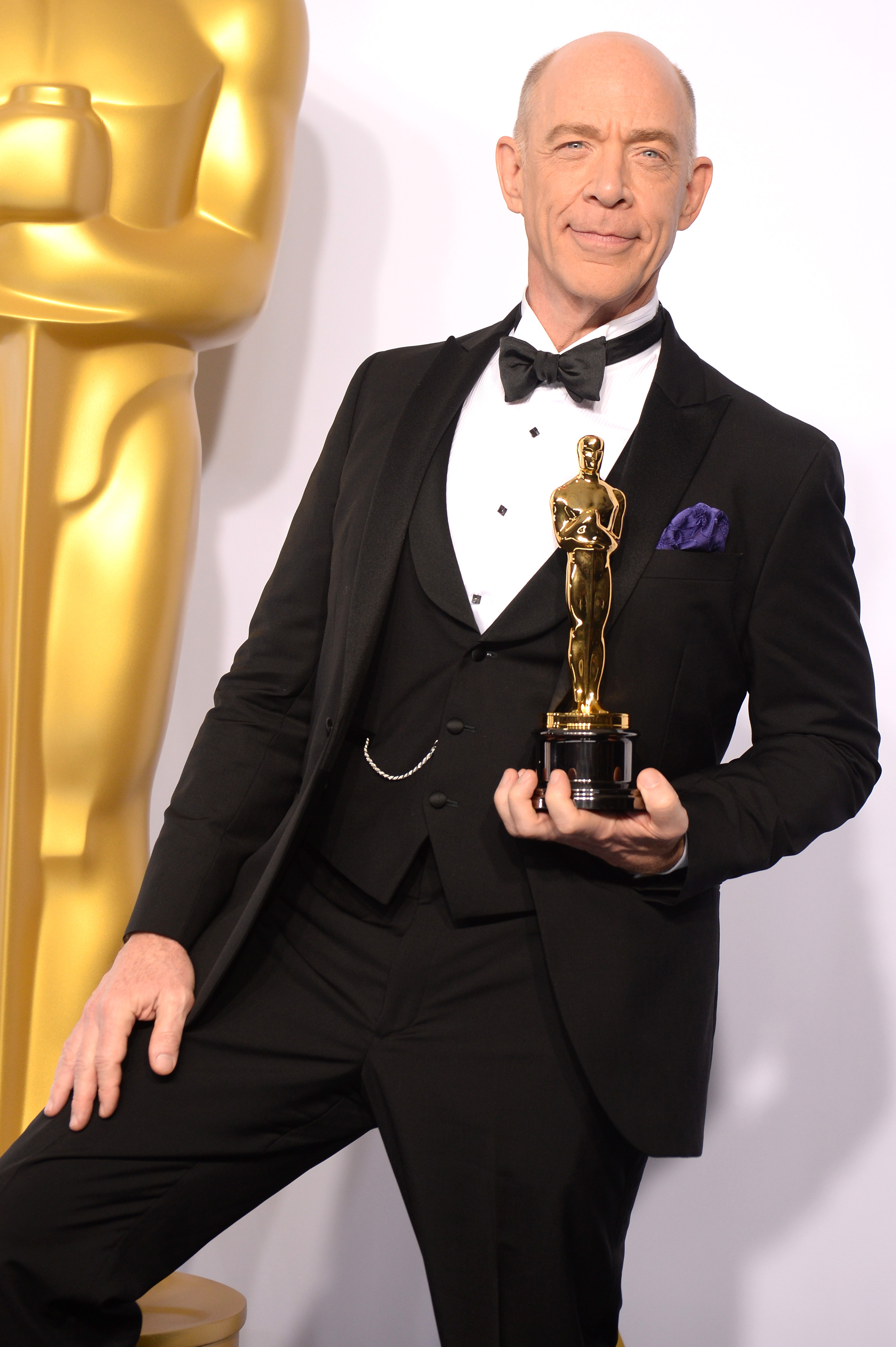 HOLLYWOOD, CA - FEBRUARY 22: Actor J.K. Simmons, with the award for best actor in a supporting role for the film 'Whiplash',