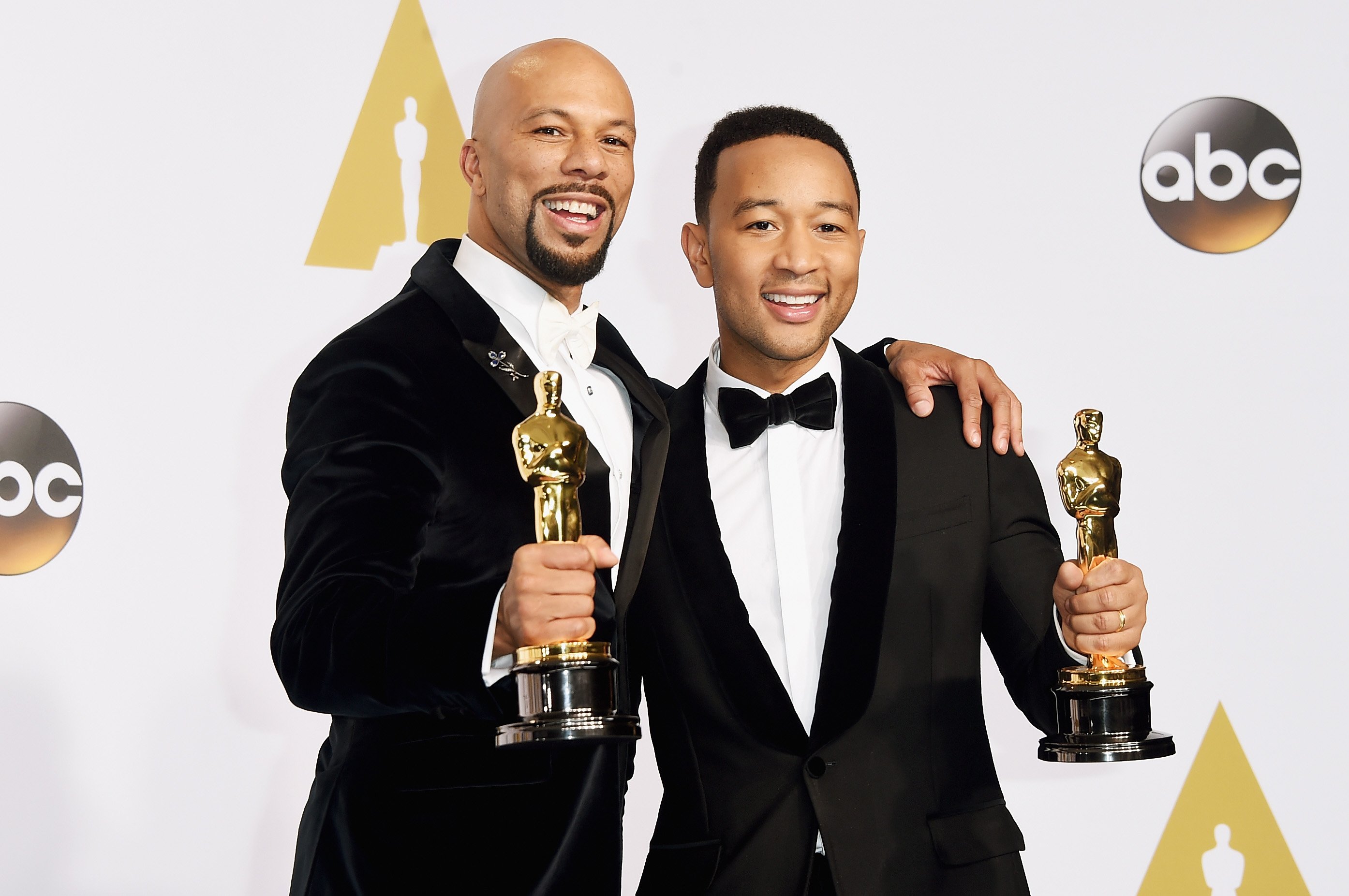 HOLLYWOOD, CA - FEBRUARY 22:  Lonnie Lynn aka Common (L) and John Stephens aka John Legend winners of the Best Original Song