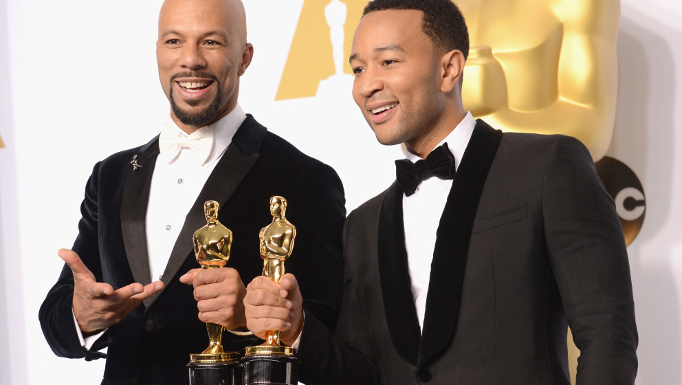poses in the press room during the 87th Annual Academy Awards at Loews Hollywood Hotel on February 22, 2015 in Hollywood, Cal