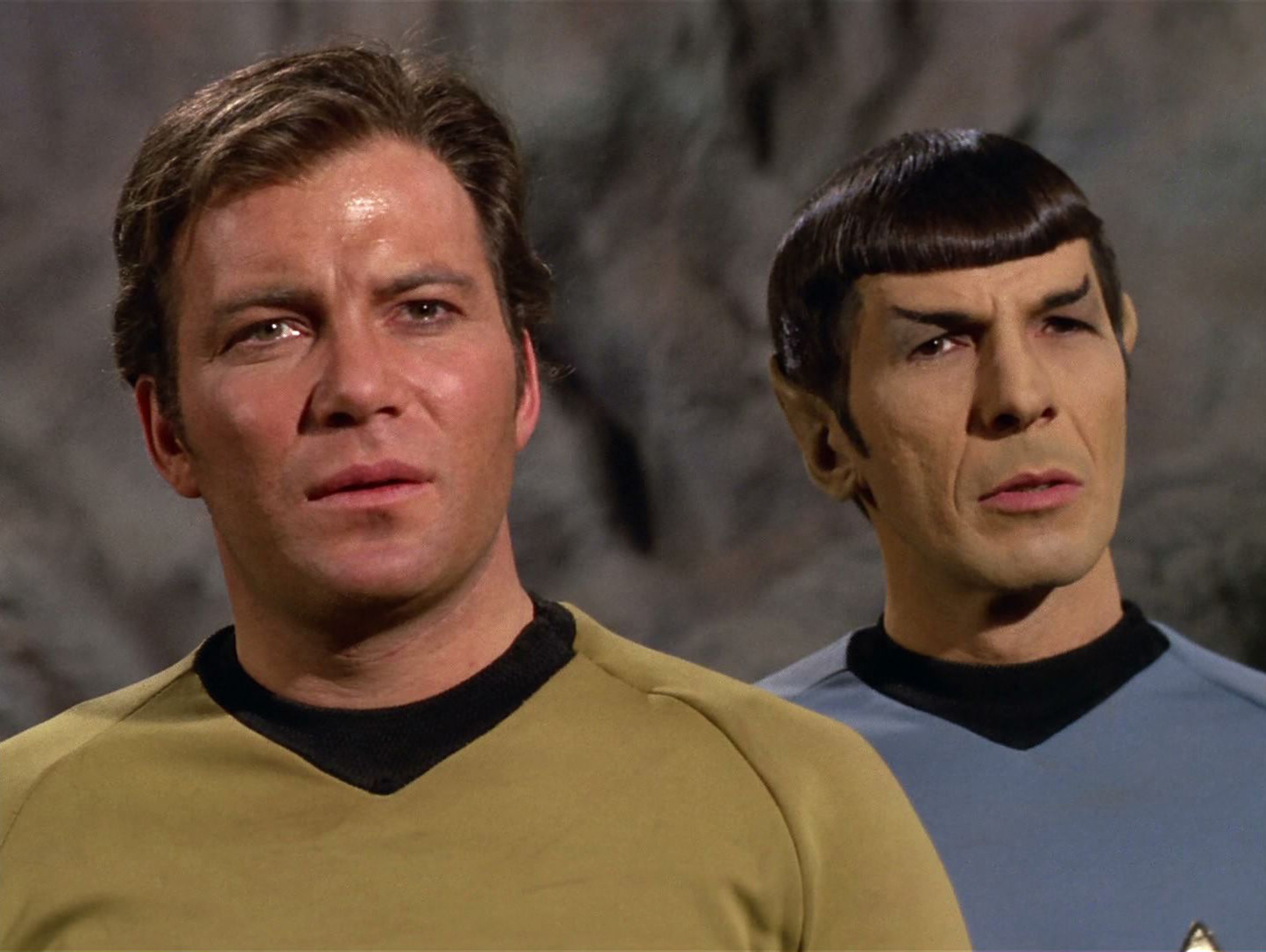 LOS ANGELES - FEBRUARY 28:  William Shatner as Captain James T. Kirk and Leonard Nimoy as Mr. Spock in the STAR TREK: THE ORI