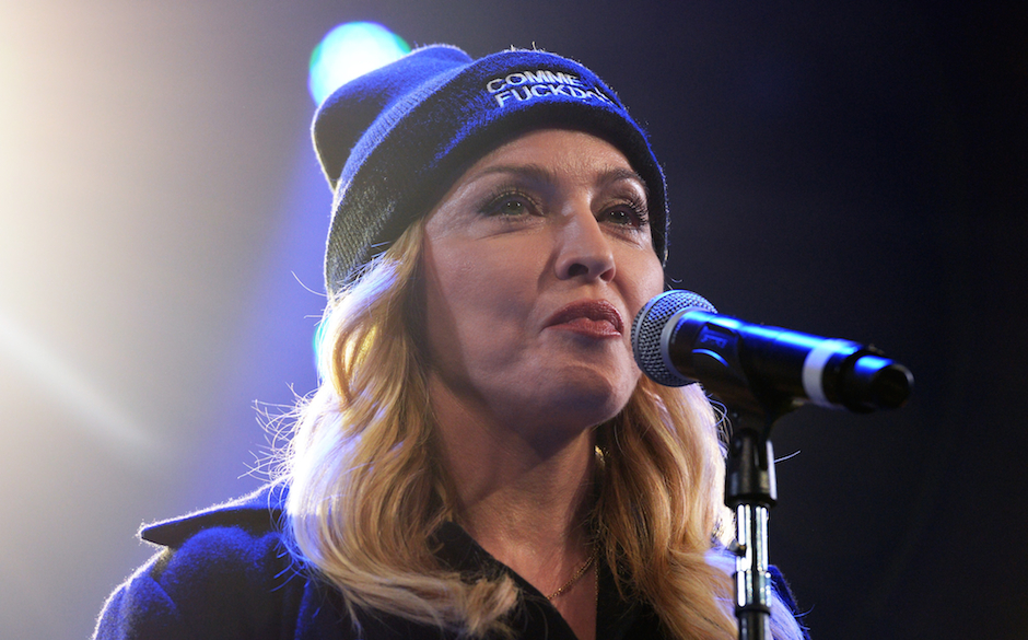 Madonna speaks onstage at the Amnesty International Concert presented by the CBGB Festival at Barclays Center on February 5,