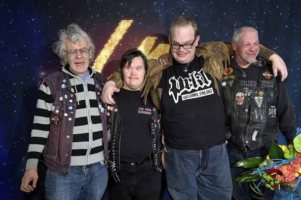 Finland's Eurovision song contest representative, punk band Pertti Kurikan Nimipaivat (PKN) celebrate heading to the 2015 Eur